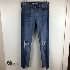 Flying Monkey   Two Tone Distressed Skinny Jeans